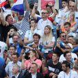 Michel Cymes, Bruno Solo, Fabrice Santoro et Jean-Roch lors de France-Argentine en 8e de finale de la Coupe du monde de football le 30 juin 2018 à Kazan en Russie. © Cyril Moreau/Bestimage