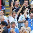 Michel Cymes, Bruno Solo lors de France-Argentine en 8e de finale de la Coupe du monde de football le 30 juin 2018 à Kazan en Russie. © Cyril Moreau/Bestimage