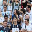 Dylan Deschamps, Nagui et sa femme Mélanie Page, Valérie Bègue (Miss France 2008) lors de France-Argentine en 8e de finale de la Coupe du monde de football le 30 juin 2018 à Kazan en Russie. © Cyril Moreau/Bestimage