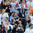 Michel Cymes, Bruno Solo, Nagui et Jean-Roch lors de France-Argentine en 8e de finale de la Coupe du monde de football le 30 juin 2018 à Kazan en Russie. © Cyril Moreau/Bestimage
