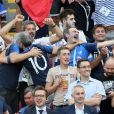 Nagui, Michel Cymes, Bruno Solo, Fabrice Santoro lors de France-Argentine en 8e de finale de la Coupe du monde de football le 30 juin 2018 à Kazan en Russie. © Cyril Moreau/Bestimage