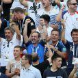 Michel Cymes, Bruno Solo, Jean-Roch, Fabrice Santoro lors de France-Argentine en 8e de finale de la Coupe du monde de football le 30 juin 2018 à Kazan en Russie. © Cyril Moreau/Bestimage