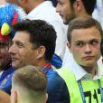 Lucas Hernandez et son père Jean-François Hernandez lors de France-Argentine en 8e de finale de la Coupe du monde de football le 30 juin 2018 à Kazan en Russie. © Cyril Moreau/Bestimage