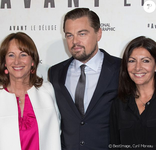 "Ségolène Royal, Leonardo DiCaprio et Anne Hidalgo - Avant première du documentaire ""Before the flood"" au théâtre du Chatelet à Paris le 17 octobre 2016. © Cyril Moreau/Bestimage"