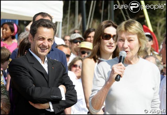 Carla Bruni, sa maman Marisa et Nicolas Sarkozy lors de la remise du Trophée Virginio Bruni-Tedeschi.