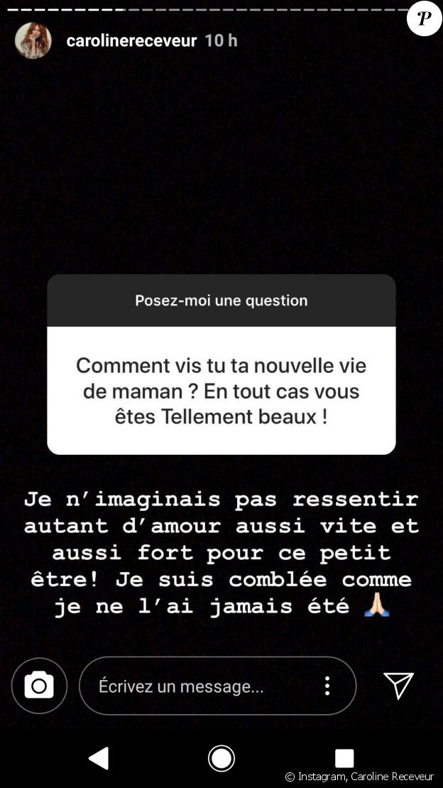 Caroline Receveur maman comblée - story Instagram, 11 juillet 2018