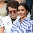 La duchesse Meghan de Sussex (Meghan Markle) à Wimbledon le 14 juillet 2018.