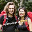 Julien Doré et son sosie, Maxime, qui participe à Pékin Express : La Course infernale, juillet 2018.