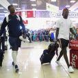 Paul Pogba et Benjamin Mendy - Départ des joueurs de l'équipe de France de football de l'aéroport de Moscou pour la France, après leur victoire lors de la Coupe du Monde 2018 en Russie. Le 16 juillet