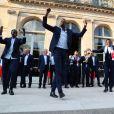 Benjamin Mendy, Paul Pogba, Ousmane Dembélé, Antoine Griezmann - Le président de la République Française E. Macron et la Première dame B. Macron, accueillent les joueurs de l'équipe de France (Les Bleus) et son sélectionneur D. Deschamps, le président de la Fédération Française de Football N. Le Graët et des membres de la FFF, dans les jardins du Palais de l'Elysée à Paris, le 16 juillet 2018.
