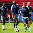Benjamin Mendy, Paul Pogba, Antoine Griezmann et Florian Thauvin - L'équipe de France de football pendant un entraînement lors de la coupe du monde au stade Kazan Arena à Kazan, Russie, le 14 juin 2018.