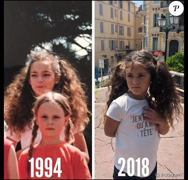 Emilie Nef Naf et sa fille Maëlla à peu près au même âge, un montage dévoilé le 31 juillet 2018.