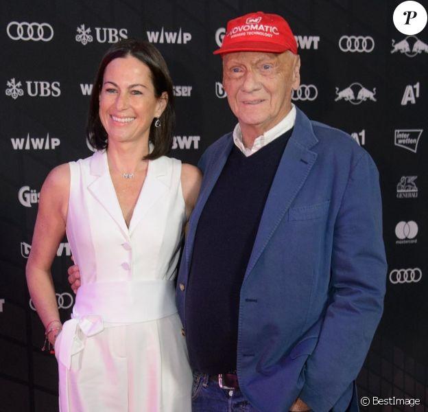 Niki Lauda et sa femme Birgit à la soirée de la Kitz Race en Autriche le 20 janvier 2018.