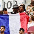 Lilian Thuram et sa compagne Kareen Guiock - People au stade Loujniki lors de la finale de la Coupe du Monde de Football 2018 à Moscou, opposant la France à la Croatie. Le 15 juillet 2018 © Moreau-Perusseau / Bestimage
