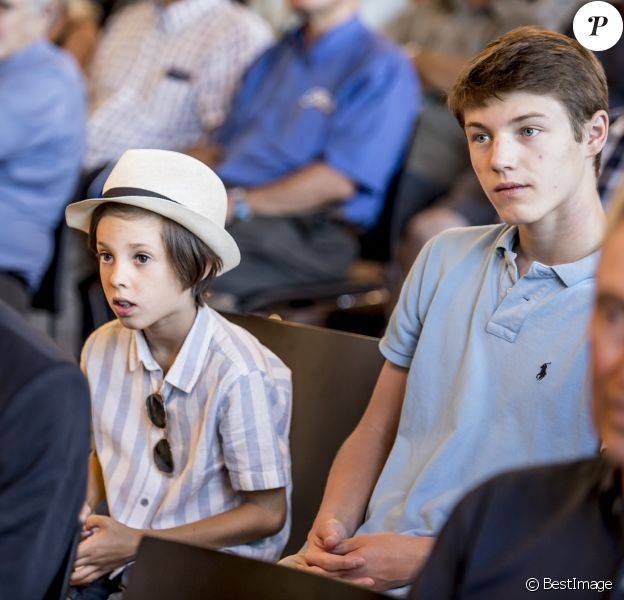 Le prince Joachim de Danemark avait avec lui ses fils le prince Henrik (avec le panama) et le prince Felix lors de la réception pour le Grand Prix Historique de Copenhague à l'Hôtel de Ville de la capitale danoise le 3 août 2018.