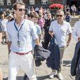 Le prince Joachim de Danemark sur le parvis de l'Hôtel de Ville de Copenhague lors de la réception pour le Grand Prix Historique de Copenhague 3 août 2018.