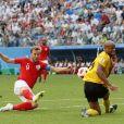 Harry Kane lors du match Belgique - Angleterre pour la 3e place de la Coupe du monde de football. Saint-Pétersbourg, le 14 juillet 2018.