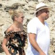 Exclusif - L'ex footballeur brésilien Ronaldo en vacances avec sa compagne Celina Locks et des amis à Formentera le 21 juillet 2018