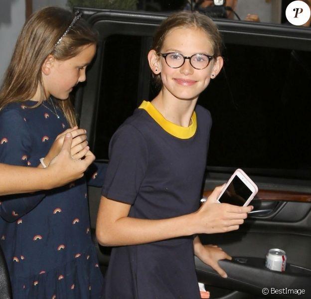 Ben Affleck est allé dîner avec ses enfants Samuel, Violet et Seraphina pour célébrer son 46ème anniversaire à Los Angeles, le 15 aout 2018.