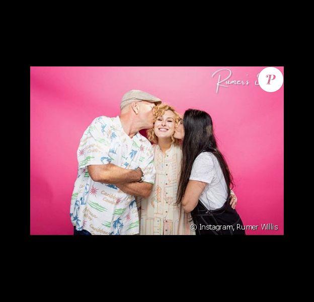 Rumer Willis avec les parents Demi Moore et Bruce Willis(photo postée le 18 août 2018)