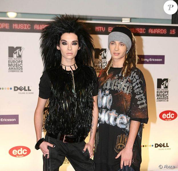 Bill et Tom Kaulitz, du groupe Tokio Hotel, aux MTV Europe Video Music Awards, à Liverpool en novembre 2008