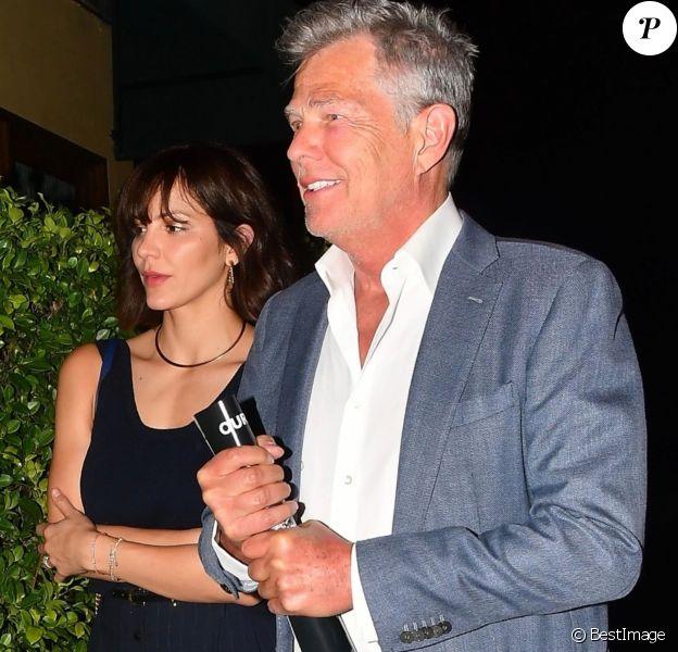 Katharine McPhee et son fiancé David Foster arrivent à la soirée organisée par Simon Cowell au restaurant AGO à West Hollywood, le 22 aout 2018.