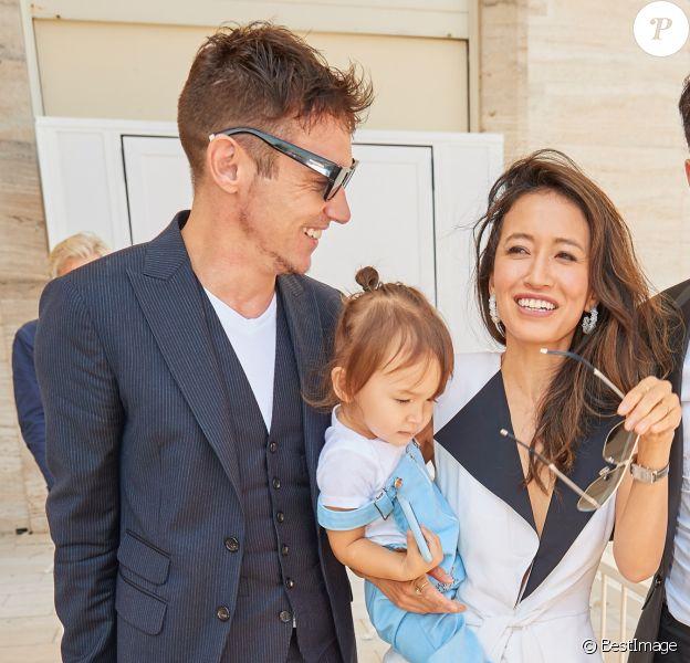 Jonathan Rhys-Meyers, sa femme Mara Lane et leur fils Wolf arrivent au 75e festival du film de Venise, la Mostra le 30 août 2018.
