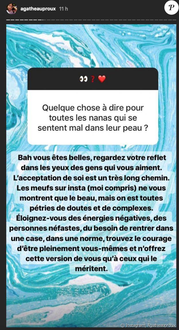 Agathe Auproux conseille les femmes mal dans leur peau sur Instagram. Août 2018.
