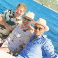 Elton John, David Furnish et David Beckham sur la Côte d'Azur le 28 août 2018.