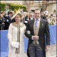 Prince Charles Philippe d'Orléans et Diane de Cadaval au mariage de Jean d'Orléans et de Philomena de Tornos y Steinhart, en la cathédrale de Senlis. <
