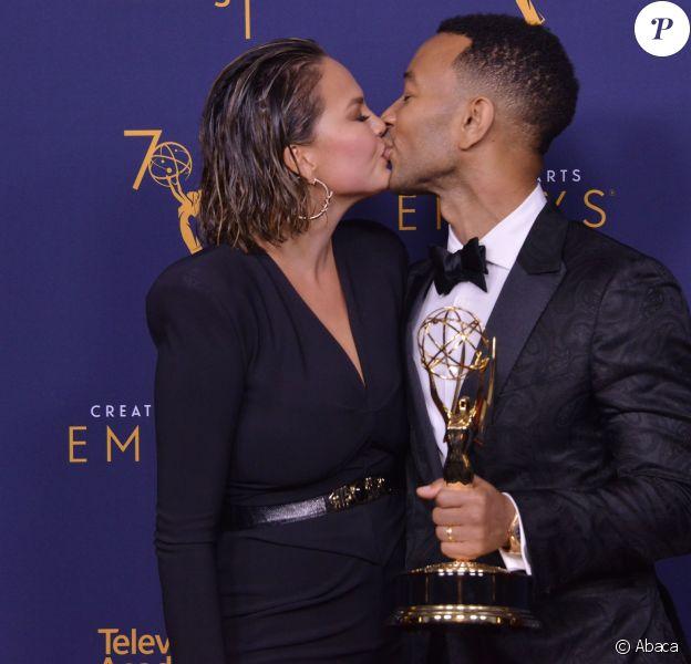 Chrissy Teigen et John Legend aux Primetime Creative Arts Emmy Awards au Microsoft Theater à Los Angeles, le 9 septembre 2018.