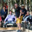 Exclusif - Philippe Suchaud et Jean-Marie Bigard lors du tournoi de pétanque des Toques Blanches Internationales au Jardin du Luxembourg à Paris, France, le 10 septembre 2018.