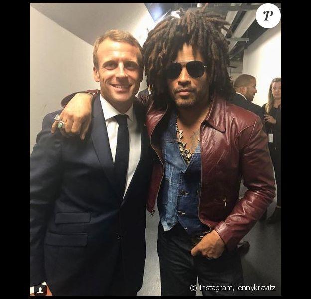 Lenny Kravitz a rencontré Emmanuel Macron dans les coulisses du concert de U2 donné à l'AccorHotels Arena, à Paris, le 13 septembre 2018.
