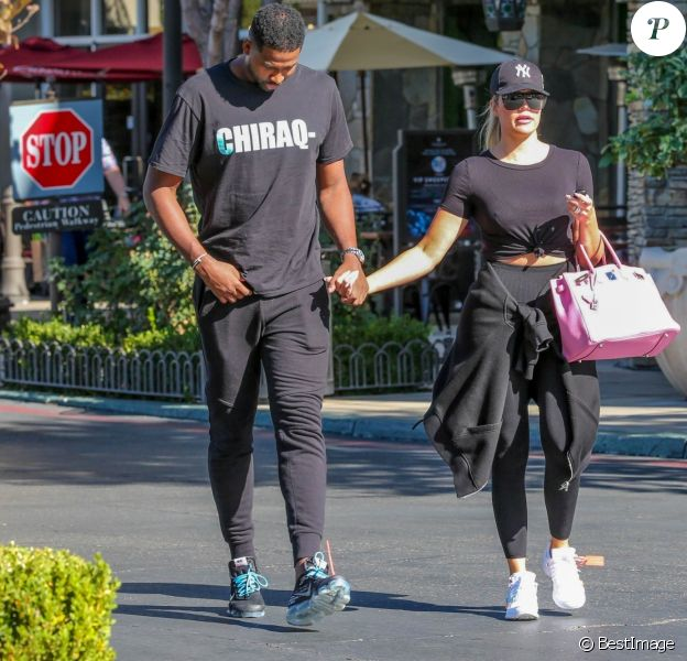 Exclusif - Khloé Kardashian et son compagnon Tristan Thompson à Calabasas. Le 16 septembre 2018.