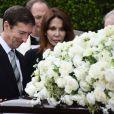 Ron Reagan et Patti Davis lors des obsèques de leur maman Nancy Reagan à Simi Valley (Californie) le 11 mars 2016.