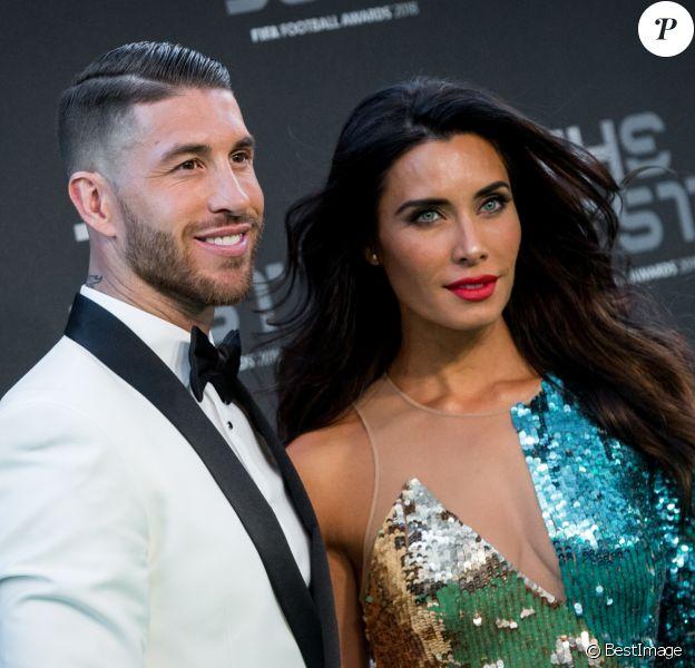 Sergio Ramos et sa femme Pilar Rubio (dans une robe Elisabetta Franchi) à la cérémonie des Best FIFA Football Awards, le 24 septembre 2018 à Londres.