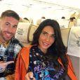 Sergio Ramos et sa femme Pilar Rubio dans l'avion pour Londres le 24 septembre 2018, se rendant à la cérémonie des Best FIFA Football Awards. Photo Instagram.
