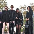 "Salma Hayek, François-Henri Pinault, Lindsay et Dakota Lohan - Défilé de mode ""Saint-Laurent"" PAP printemps-été 2019 au Trocadéro devant la Tour Eiffel à Paris le 25 septembre 2018"