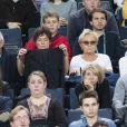"""Muriel Robin et sa compagne Anne Le Nen (avec son père) à la demi-finale entre J. Sock et J. Benneteau - Tournoi de tennis """"Rolex Paris Masters 2017"""" à Paris le 4 novembre 2017 © Veeren - Perusseau / Bestimage"""