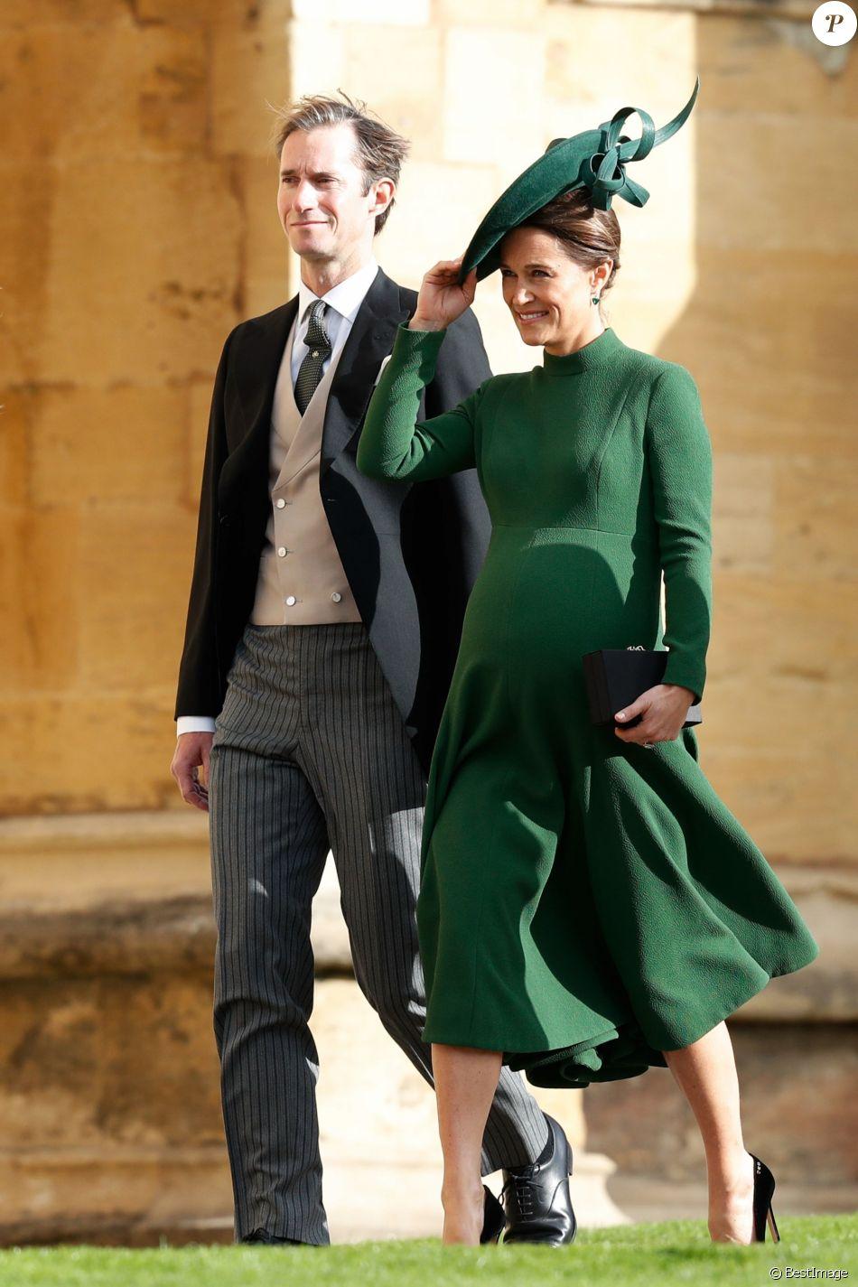 Pippa Middleton enceinte et James Matthews - Les invités arrivent à la chapelle St. George pour le mariage de la princesse Eugenie d'York et Jack Brooksbank au château de Windsor, Royaume Uni, le 12 octobre 2018.