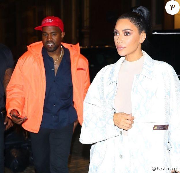 Exclusif - Kim Kardashian et son mari Kanye West arrivent à leur hôtel après avoir diner à New York, le 29 septembre 2018