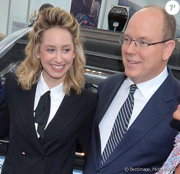 Jazmin Grace Grimaldi avec son père le prince Albert II de Monaco le 11 avril 2018 en principauté lors du salon EVER Monaco dédié aux véhicules écologiques et aux énergies renouvelables. © Michael Alesi/Bestimage