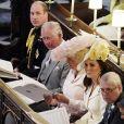 Le prince William, duc de Cambridge Le prince Charles, prince de Galles, Camilla Parker Bowles, duchesse de Cornouailles, Catherine (Kate) Middleton, duchesse de Cambridge, Le prince Andrew, duc d'York La princesse Beatrice d'York - Cérémonie de mariage du prince Harry et de Meghan Markle en la chapelle Saint-George au château de Windsor, Royaume Uni, le 19 mai 2018.