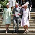 Doria Ragland, le prince Charles et Camilla Parker Bowles au mariage du prince Harry et de Meghan Markle à Windsor le 19 mai 2018.