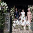 Pippa Middleton, son mari James Matthews, Catherine (Kate) Middleton, duchesse de Cambridge, le prince George de Cambridge et la princesse Charlotte de Cambridge - Mariage de P. Middleton et J. Matthew, en l'église St Mark Englefield, Berkshire, Royaume Uni, le 20 mai 2017.