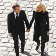 Emmanuel Macron et sa femme Brigitte - Arrivées à l'hommage national à Charles Aznavour à l'Hôtel des Invalides à Paris. Le 5 octobre 2018 © Jacovides-Moreau / Bestimage