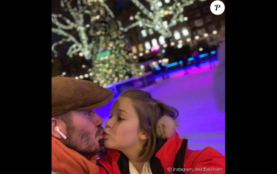 David Beckham et sa fille Harper posent sur Instagram, le 27 novembre 2018