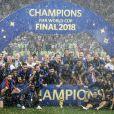 L'équipe de France (Les Bleus) sur la pelouse du stade Loujniki après leur victoire sur la Croatie (4-2) en finale de la Coupe du Monde 2018 (FIFA World Cup Russia2018). Moscou, le 15 juillet, 2018. © Cyril Moreau/Bestimage