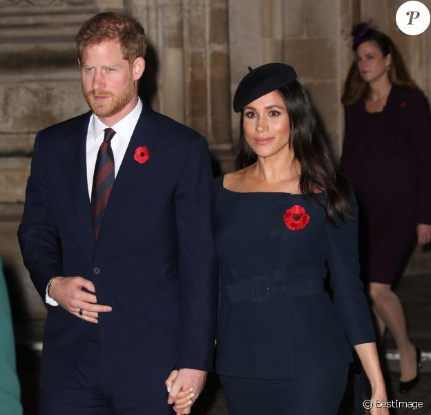 Le prince Harry, duc de Sussex, et Meghan Markle (enceinte), duchesse de Sussex, à l'abbaye de Westminster lors du service commémoratif pour le centenaire de la fin de la Première Guerre mondiale à Londres le 11 novembre 2018
