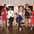 Sophida Kanchanarin (Thaïlande), Francesca Mifsud (Malte), Wabaiya Kariuki (Kenya), Angela Ponce (Espagne), Nariman Khaled (Egypte) et Lara Yan (Géorgie) en répétition pour la finale de Miss Univers 2018 à l'Impact Arena à Bangkok. Le 15 décembre 2018.